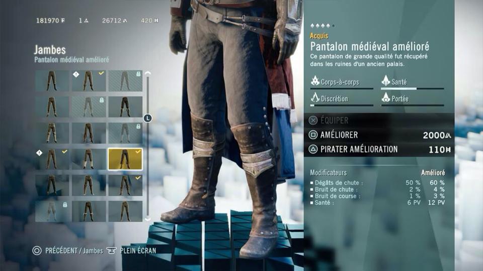 L'interface du jeu pour gérer Arno est également très agréable.